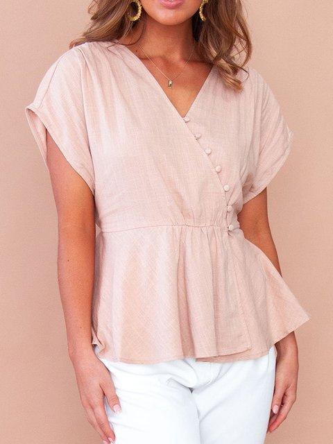 Light Pink Holiday Asymmetric Shirts & Tops