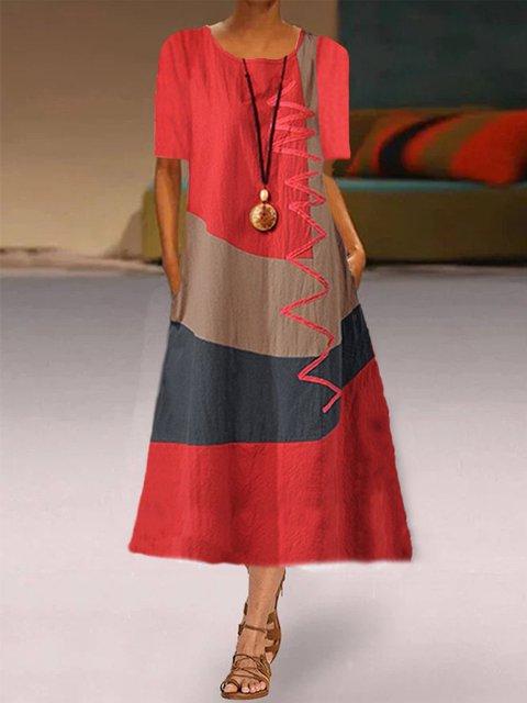 Color-block Graffiti Printed Casual Short Sleeve Midi Dress