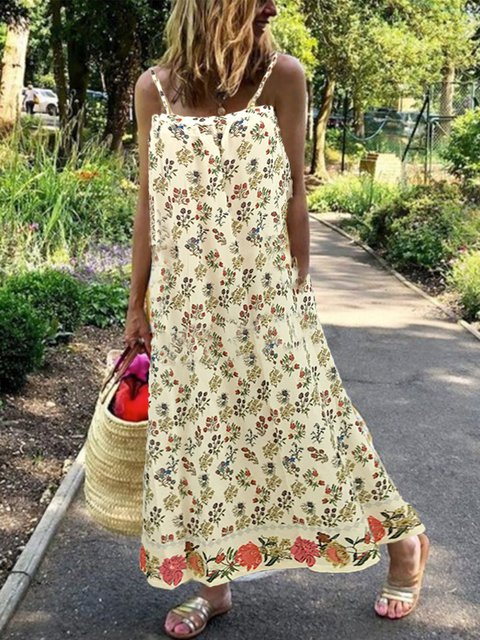 Summer leisure vacation floral boho backless sexy floral camisole dress