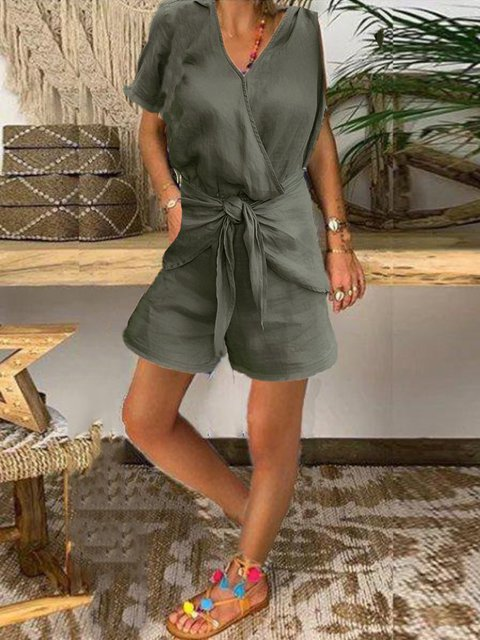Summer casual daily basic jumpsuit sexy band shorts