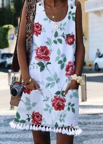 Sleeveless Floral Casual Fringed Dresses