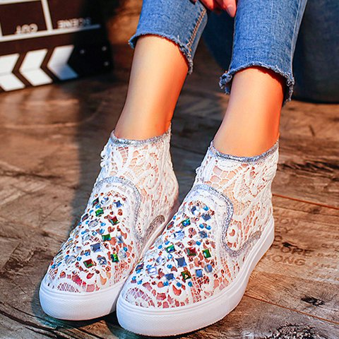 Rhinestone Hollow Out Womens Lace Crtystal Sneakers