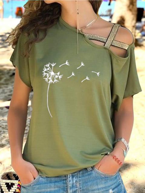 Casual Floral-print Cutout Short Sleeve T-shirt