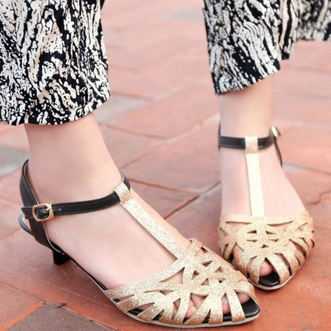 Low Heel Closed Toe Adjustable Buckle T-Strap Cut Out Sandals