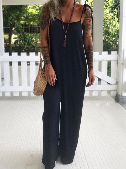 Black Spaghetti Plain Sleeveless Jumpsuits