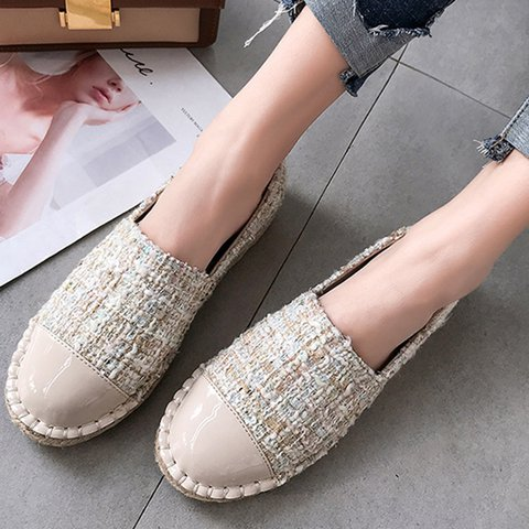 Women Round Toe Slide Cloth Flats
