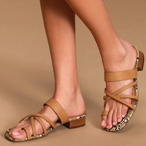 Summer Block Heel Artificial Leather Slippers