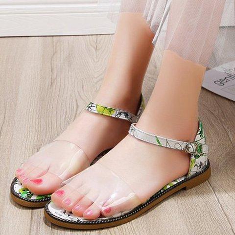 Low Heel Pu Buckle Strap Open Toe Ankle Strap Sandals