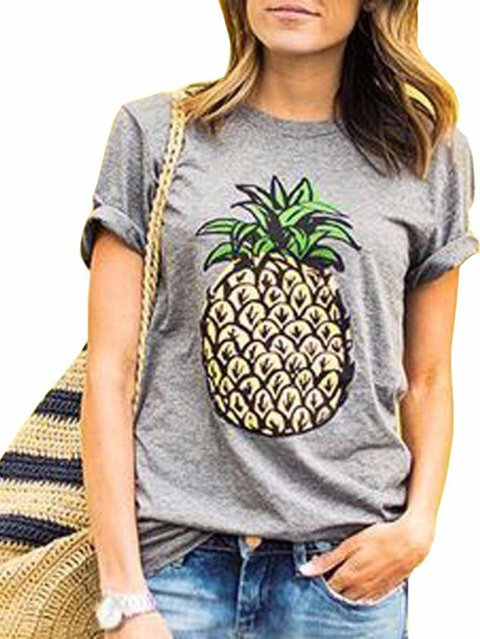 Women Gray Casual Round Neck Plants Short Sleeve Shirts & Tops