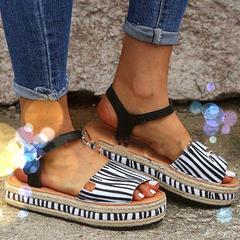 Block Heel Buckle Summer Sandals