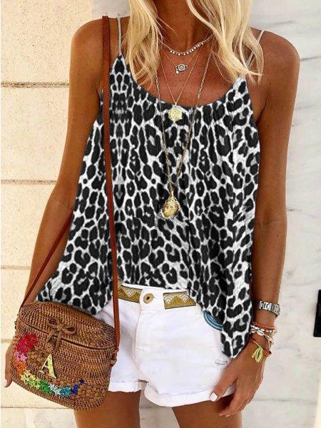 Casual A-Line Leopard Spaghetti-Strap Shirts & Tops