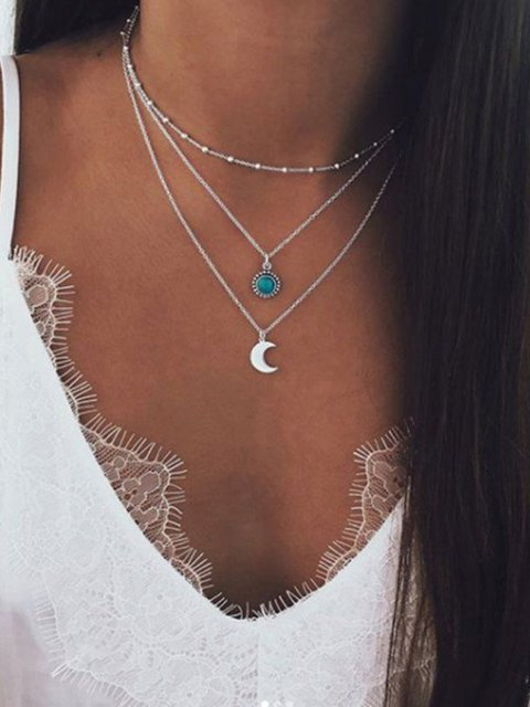 Bohemian Multilayer Clavicle Chain Turquoise Moon Necklace