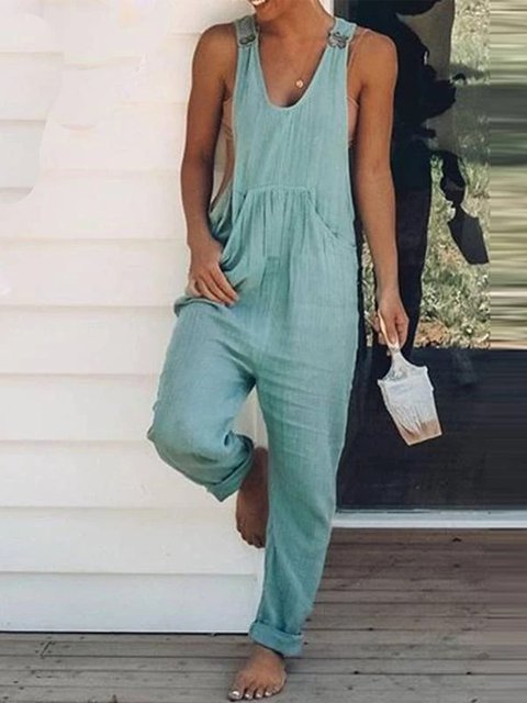 Casual Plus Size V Neck Sleeveless Jumpsuit Overalls One-Pieces