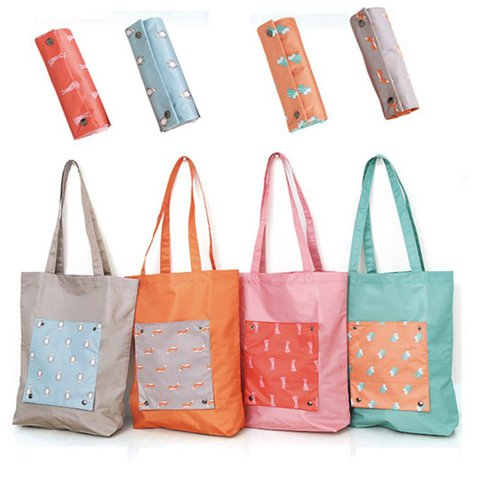 Cartoon Travel Storage Bag Collapsible Shoulder Shopping Bag