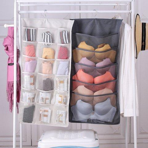 Underwear Socks Hanging Storage Organiser Wall Shelf Wardrobe Bags Space Saver for Bra Underwear Underpants Shoes Socks