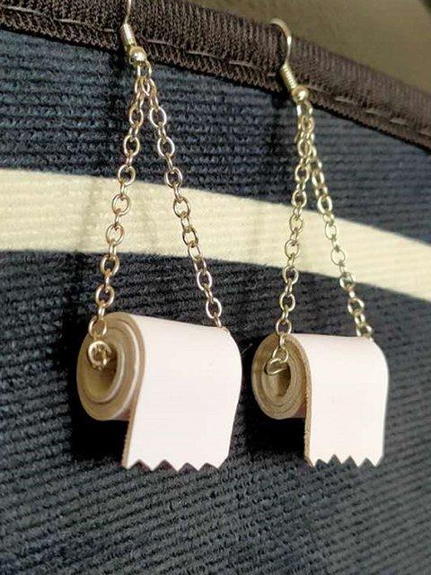 Trendy Mini Type Of Toilet Paper Pvc Earrings