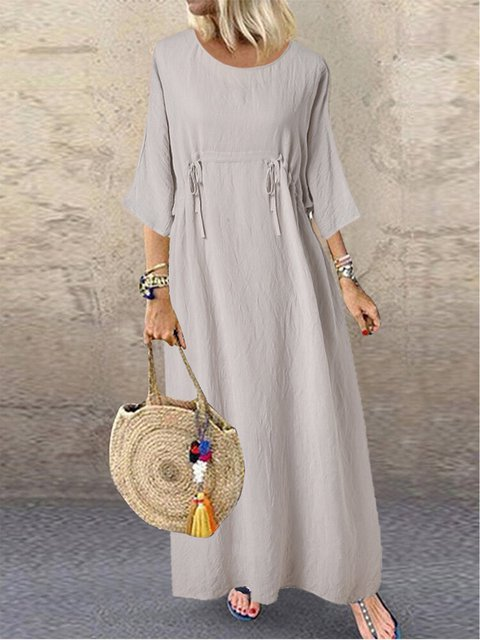 Drawstring 3/4 Sleeve Dresses