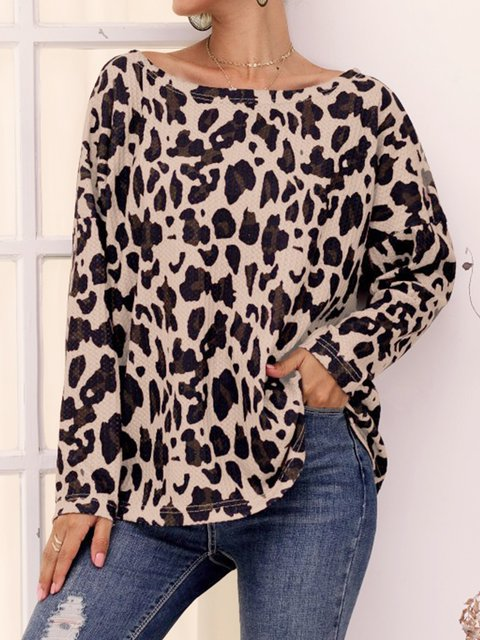 Casual Plus Size Leopard Printed Long Sleeve Shirts Tops