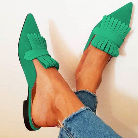 Women Pointed Toe Low Heel Slide Sandals Tassel Mules
