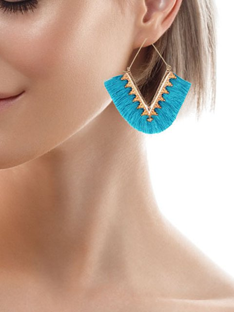 Women Tassel Geometry Alloy Earrings