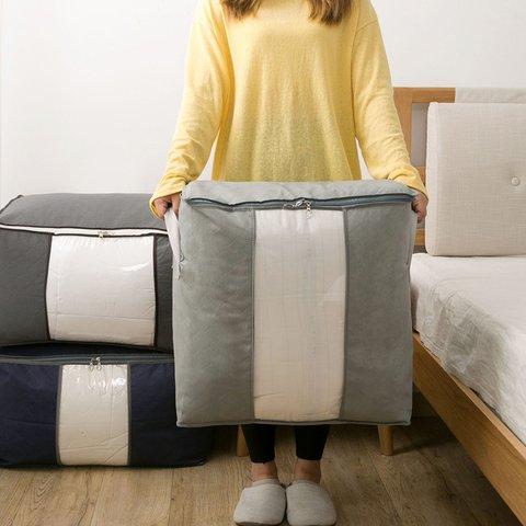 Can be non-woven quilt storage bag wardrobe storage large portable clothing storage bag moving storage bag