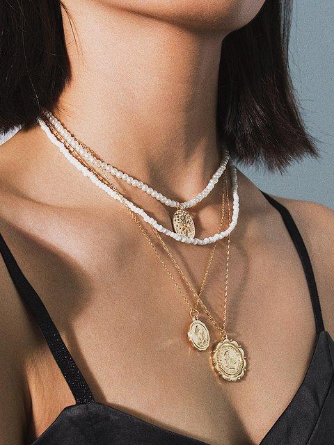 Women Alloy Multi-layer Necklaces