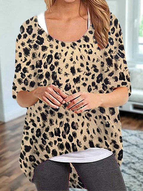 Vintage Short Sleeve Leopard Printed Crew Neck Plus Size Casual Tops