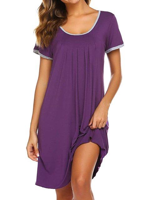 Women Solid Sleepwear Summer Short Sleeve Crew Neck  Loungewear