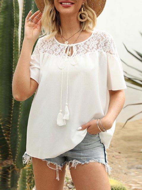 Women White Sweet Round Neck Plain Shirts & Tops