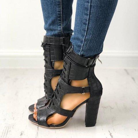 Snakeskin Lace Up Heel Women's Sandals