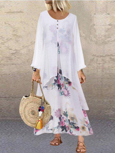 Vintage A-Line Long Sleeve Floral-Print Boho Maxi Dresses