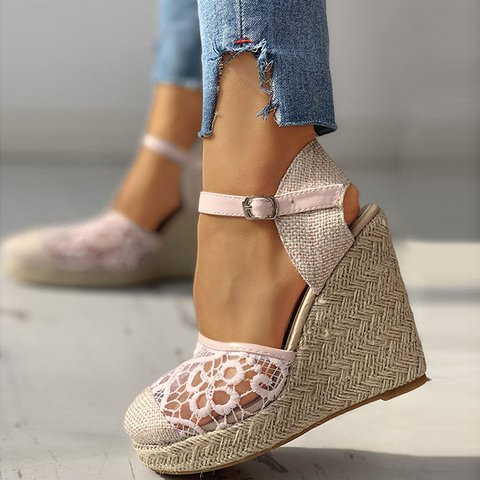 Vacation Lace Openwork Weave Bottom Wedge Sandals
