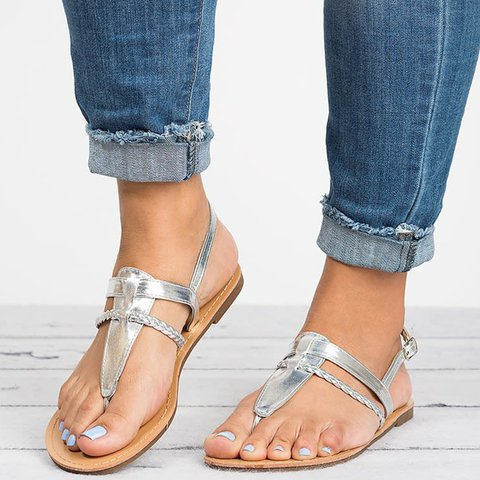 Plus Size Buckle Strap Braided Womens Ankle Strap Sandals