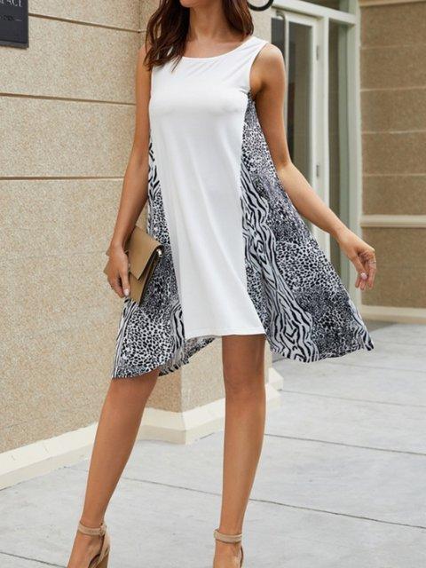 Women White Casual Sleeveless Dresses