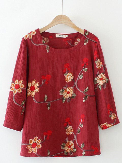 Embroidered Crew Neck Shirts & Tops