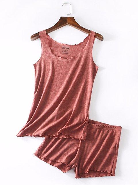 Women Summer Solid Sleepwear Sleeveless Pajamas Suits