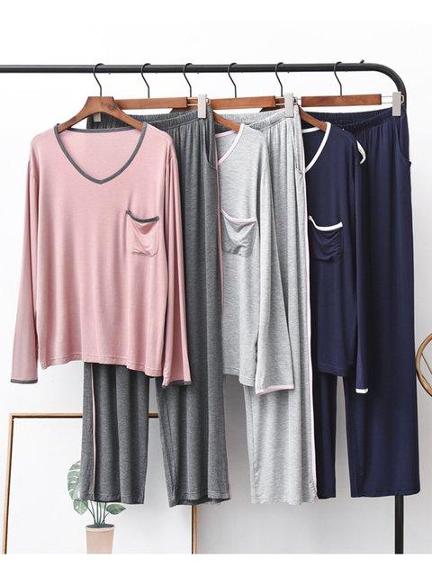 Women Solid Sleepwear Long Sleeve Pajamas Suits