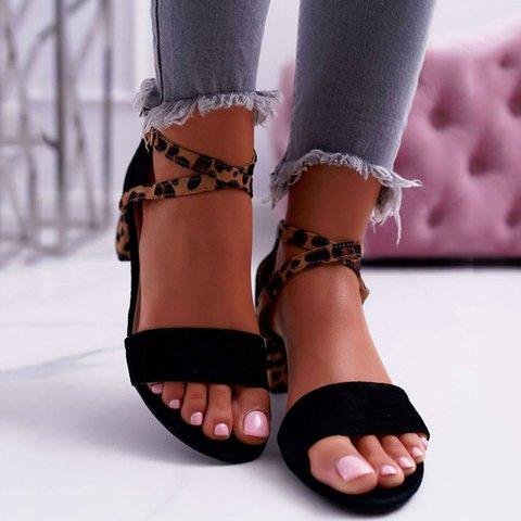 Adjustable Buckle Artificial Suede Chunky Heel Leopard Summer Sandals