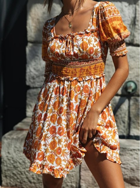Women Yellow Floral Short Sleeve A-Line Dresses