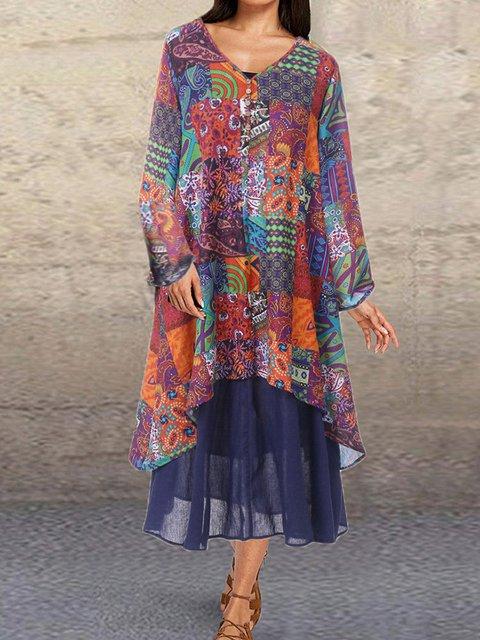 Plus Size Boho Vintage Long Sleeve Tribal Dresses