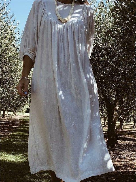 Boho Solid Midi Dress Women Plus Size Dress