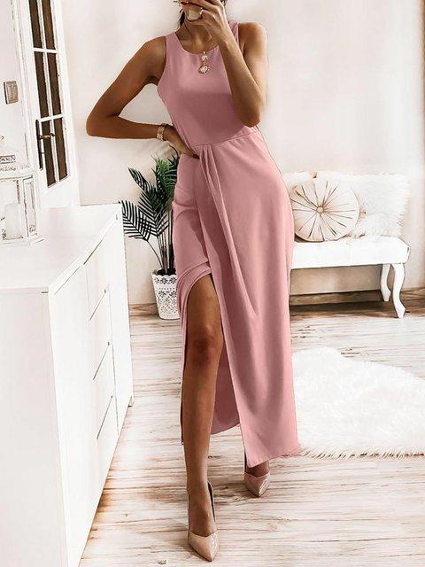 Solid Sleeveless Maxi Dresses Women Dress
