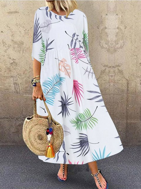 Floral Printed Casual Half Sleeve Midi Dress