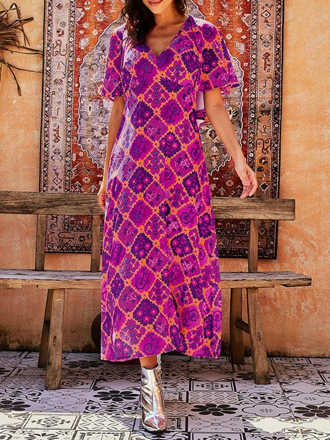 Vintage Printed Sexy Deep V-neck Ruffle Sleeve Long Dress