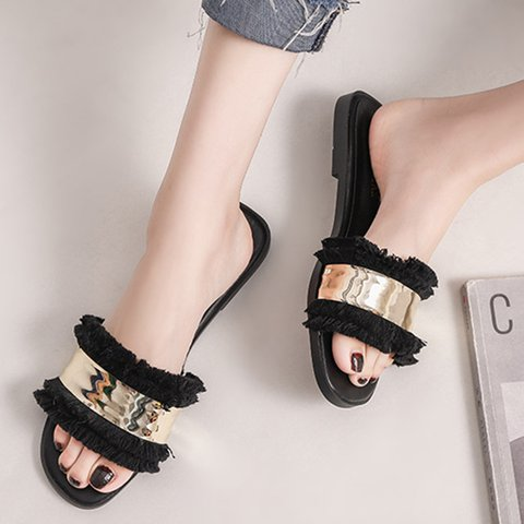 Women PU Home Slippers All Season Casual Sequin Shoes