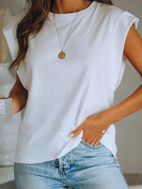 Short Sleeve Plain Casual Shirts & Tops