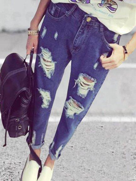 Vintage Ripped Plus Size Plain Women Casual Denim Pants