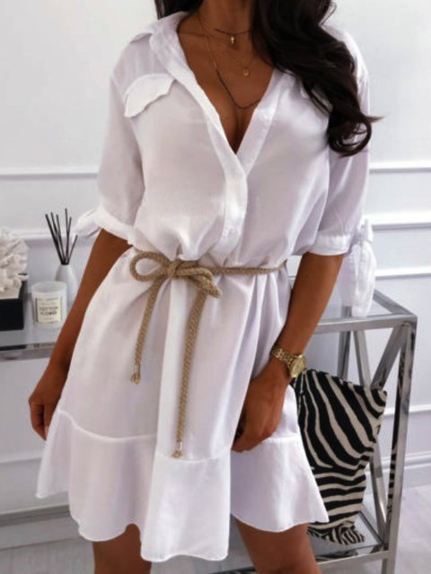 White V Neck Plain Long Sleeve Dresses