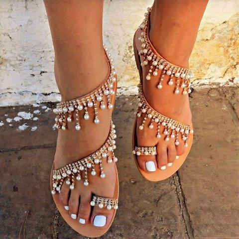 Khaki Beading Flat Heel Summer Pu Daily Women's Shoes