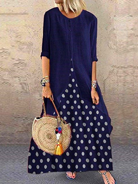 Casual Cotton Crew Neck Polka Dots Long Sleeve Maxi Dresses